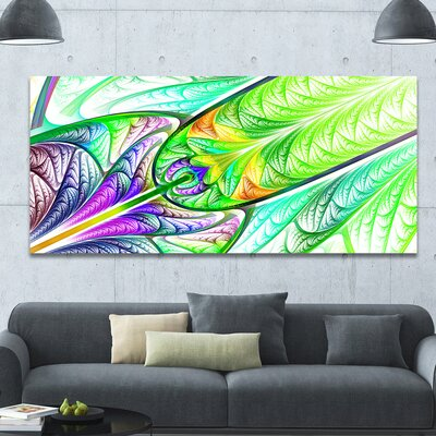 'Green Blue Fractal Stained Glass' Graphic Art on Canvas PT15858-60-28