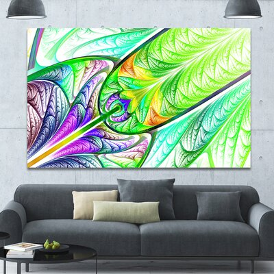 'Green Blue Fractal Stained Glass' Graphic Art on Canvas PT15858-60-40