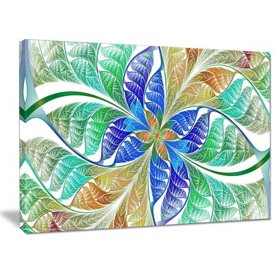 'Light Blue Fractal Stained Glass' Graphic Art on Canvas PT15884-40-30
