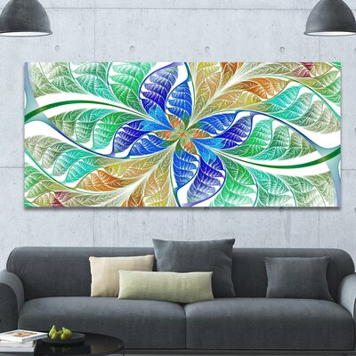 'Light Blue Fractal Stained Glass' Graphic Art on Canvas PT15884-60-28