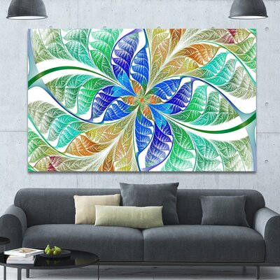 'Light Blue Fractal Stained Glass' Graphic Art on Canvas PT15884-60-40