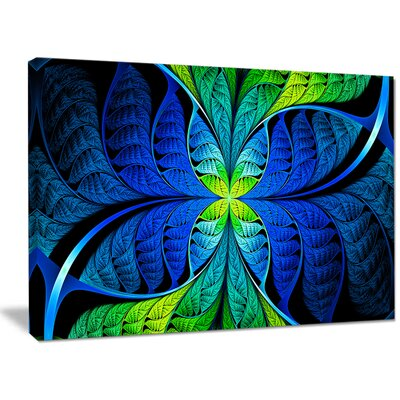 'Blue Green Fractal Stained Glass' Graphic Art on Canvas PT15886-40-30