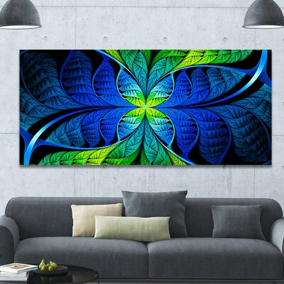 'Blue Green Fractal Stained Glass' Graphic Art on Canvas PT15886-60-28