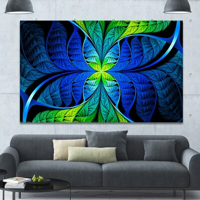 'Blue Green Fractal Stained Glass' Graphic Art on Canvas PT15886-60-40