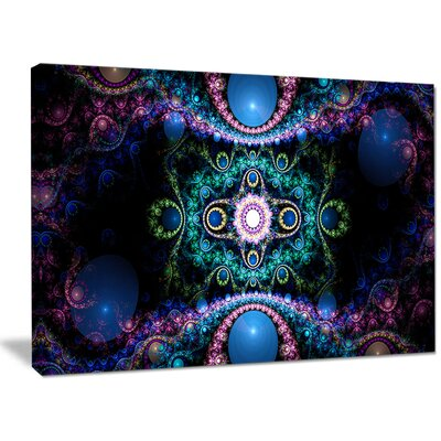 'Cabalistic Blue Fractal Pattern' Graphic Art on Wrapped Canvas PT16085-40-30