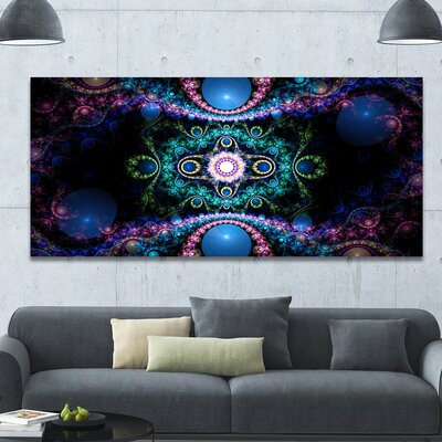 'Cabalistic Blue Fractal Pattern' Graphic Art on Wrapped Canvas PT16085-60-28