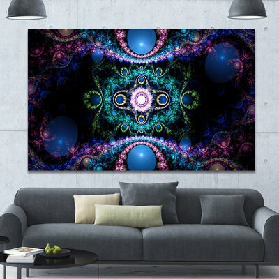 'Cabalistic Blue Fractal Pattern' Graphic Art on Wrapped Canvas PT16085-60-40