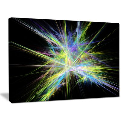 'Yellow Blue Chaos Multicoloured Rays' Graphic Art on Wrapped Canvas PT16169-40-30