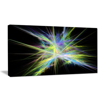 'Yellow Blue Chaos Multicoloured Rays' Graphic Art on Wrapped Canvas PT16169-40-20