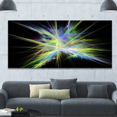 'Yellow Blue Chaos Multicoloured Rays' Graphic Art on Wrapped Canvas PT16169-60-28