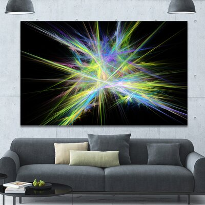 'Yellow Blue Chaos Multicoloured Rays' Graphic Art on Wrapped Canvas PT16169-60-40