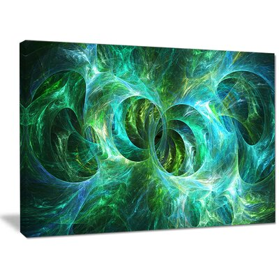 'Blue Fractal Ornamental Glass' Graphic Art on Wrapped Canvas PT16190-40-30