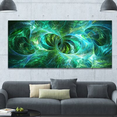 'Blue Fractal Ornamental Glass' Graphic Art on Wrapped Canvas PT16190-60-28