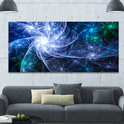 'Blue Fractal Star Pattern' Graphic Art on Wrapped Canvas PT16398-60-28