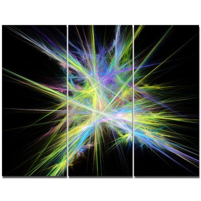 'Yellow Blue Chaos Multicoloured Rays' Graphic Art Print Multi-Piece Image on Canvas PT16169-3P