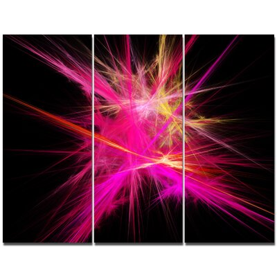'Pink Fractal Chaos Multicoloured Rays' Graphic Art Print Multi-Piece Image on Canvas PT16170-3P