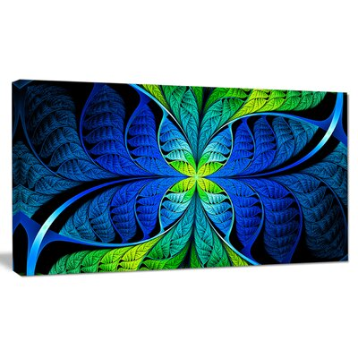 'Blue Green Fractal Stained Glass' Graphic Art on Canvas PT15886-20-12