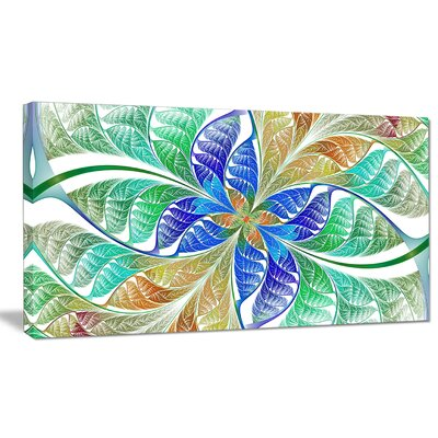 'Light Blue Fractal Stained Glass' Graphic Art on Canvas PT15884-12-8