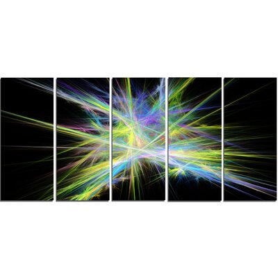 Yellow Blue Chaos Multicoloured Rays' Graphic Art Print Multi-Piece Image on Canvas PT16169-401