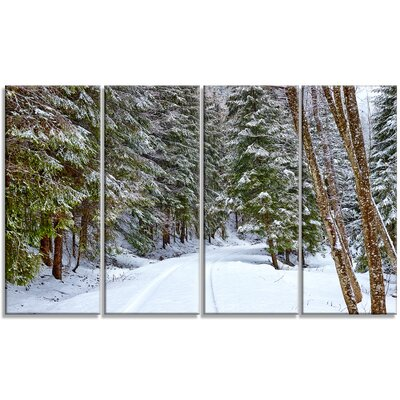 'Snowy Road in the Forest' Photographic Print Multi-Piece Image on Canvas PT15159-271