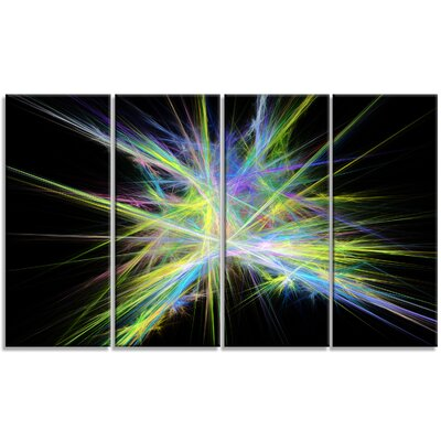 'Yellow Blue Chaos Rays' Graphic Art Print Multi-Piece Image on Canvas PT16169-271