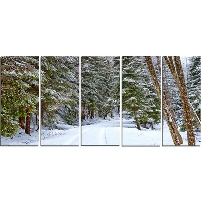 'Snowy Road in the Forest' Photographic Print Multi-Piece Image on Canvas PT15159-401
