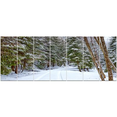 'Snowy Road in the Forest' Photographic Print Multi-Piece Image on Canvas PT15159-732