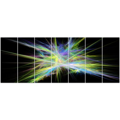'Yellow Blue Chaos Multicoloured Rays' Graphic Art Print Multi-Piece Image on Canvas PT16169-732