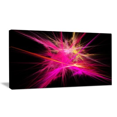 'Pink Fractal Chaos Multicoloured Rays' Graphic Art Print on Wrapped Canvas PT16170-20-12
