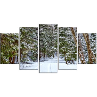 'Snowy Road in the Forest' Photographic Print Multi-Piece Image on Canvas EAOU4241 38951753