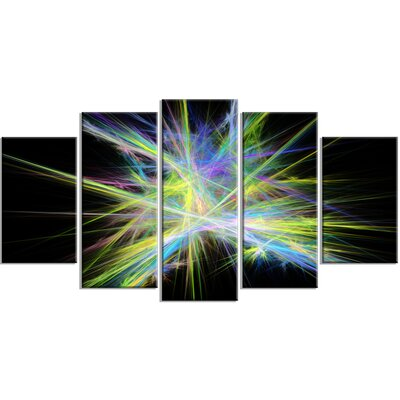 'Yellow Blue Chaos Multicoloured Rays' Graphic Art Print Multi-Piece Image on Canvas EAOU3805 38951314
