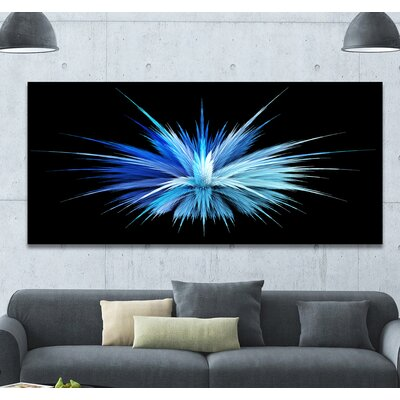 "Image of 'Colorful Blue Fountain of Crystals' Graphic Art Print on Wrapped Canvas Size: 28"" H x 60"" W x 1.5"" D"