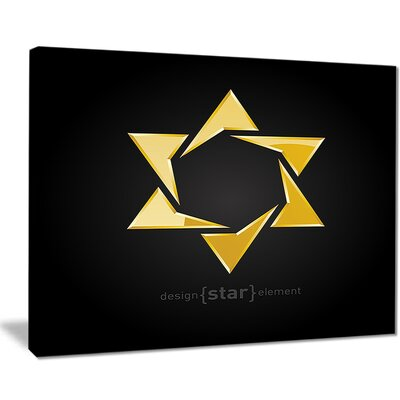 "'Luxury Golden Star' Graphic Art Print on Canvas Size: 20 "" W x 12 "" H EAAE8449 39321541"