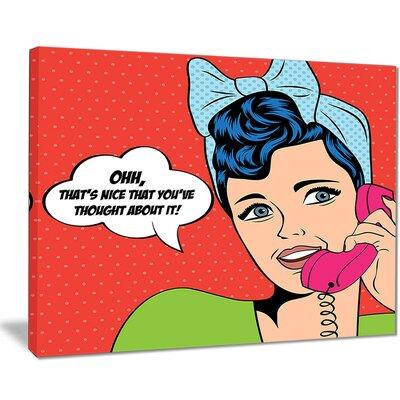 'Woman Talking on Phone' Graphic Art Print on Canvas EAAE8410 39321385