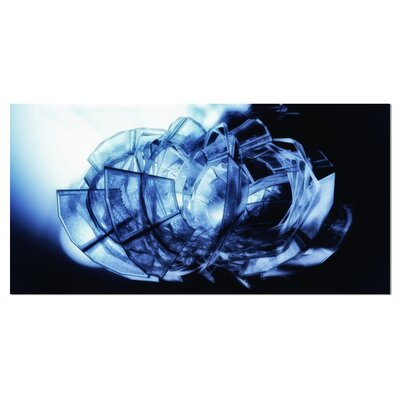 'Fractal 3D Blue Glass Pattern' Graphic Art on Wrapped Canvas PT9165-32-16