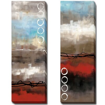 'Elements I and II' 2 Piece Print Set on Wrapped Canvas Size: 24