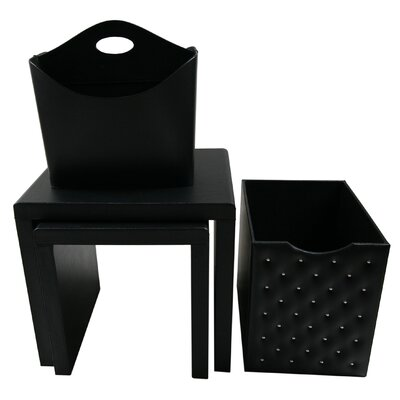 4 Piece Nesting Table Color: Black