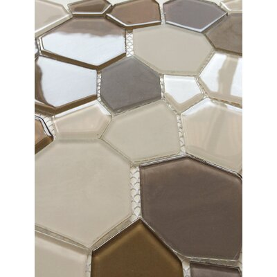 12 x 12 Glass Mosaic Tile in Brown and Beige