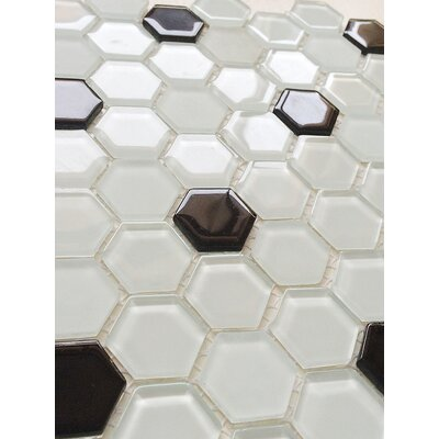 12 x 12 Glass Mosaic Tile in White and Black