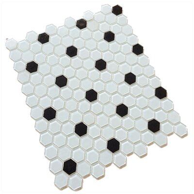 Contractor Pack 12 x 12 Glass Mosaic Tile in White/Black