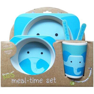 Nandog Bamboo Fiber Kids 5 Piece Dinnerware Set - Color: Blue
