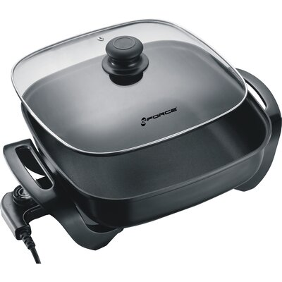 Non-Stick Electric Skillet Square with Tempered Glass Lid GF-P1395-896