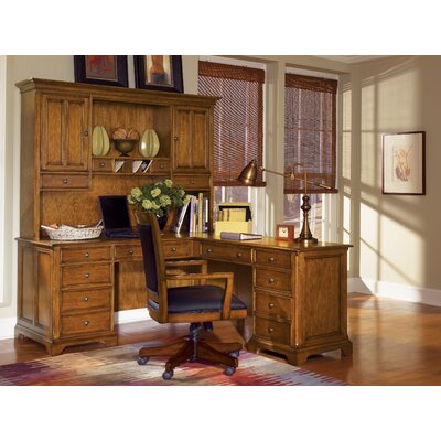 Contemporary Shape Executive Desk Hutch Left Computer