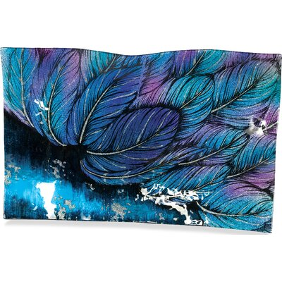 "Angel Feathers Rectangle Plate Size: 11"" H X 17"" W X 1.75"" D"