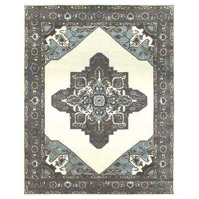 Heriz Hand-Tufted Sand/Pearl Area Rug Rug Size: Square 6