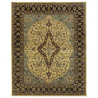 Bidjar Hand-Tufted Cream/Midnight Area Rug Rug Size: Round 12