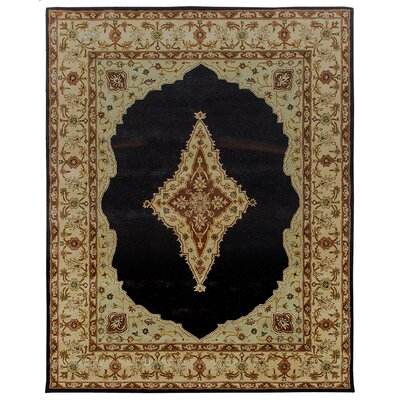 Bidjar Hand-Tufted Midnight/Cream Area Rug Rug Size: Round 12