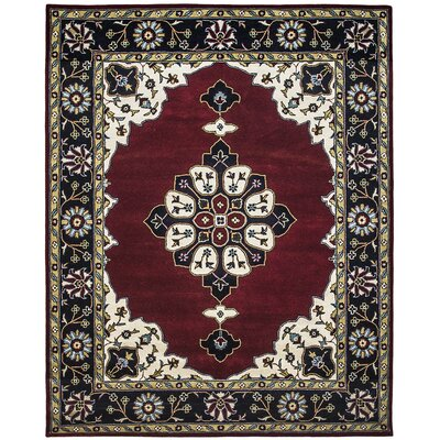 Mogul Hand-Tufted Burgundy/Blue Area Rug Rug Size: 96 x 136