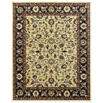 Ziegler Hand-Tufted Cream/Midnight Area Rug Rug Size: Round 12