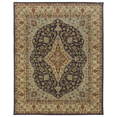 Bidjar Hand-Tufted Midnight/Cream Area Rug Rug Size: Round 10